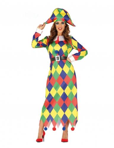 Veelkleurige geruite harlekijn outfit voor dames