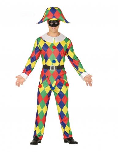 Veelkleurig geruit harlekijn kostuum voor heren