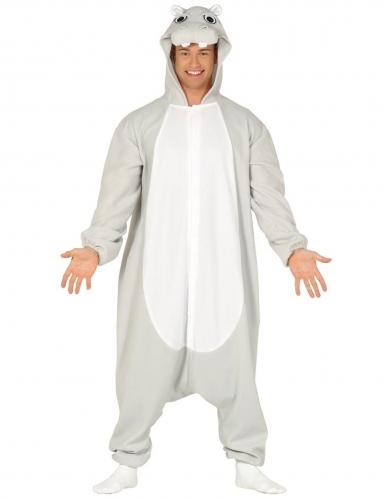 Grijs en wit nijlpaard kostuum voor volwassenen
