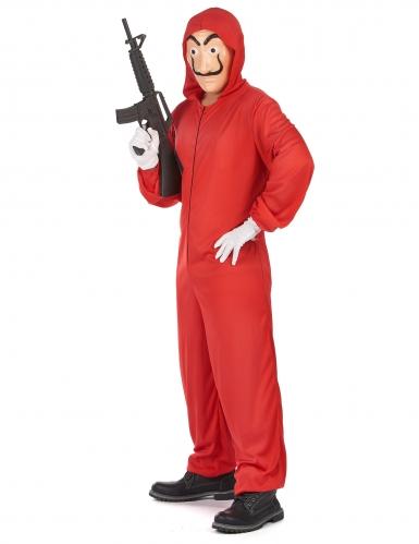 Rood overvaller pak en masker voor volwassenen