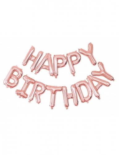 Roségouden aluminium Happy Birthday ballonnen
