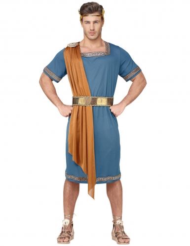Blauw en oranje Romeinse keizer kostuum voor volwassenen-1