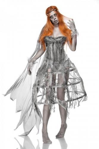 Grijze zombie bruid outfit voor vrouwen