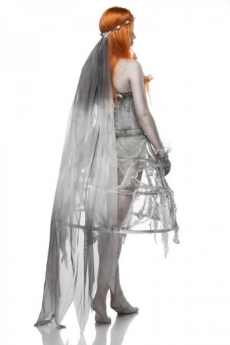 Grijze zombie bruid outfit voor vrouwen-1