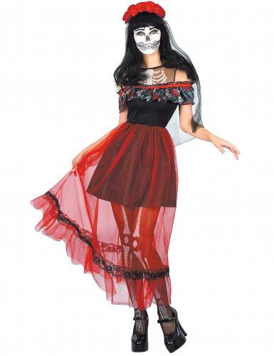 Dia de los Muertos outfit met rode sluier voor vrouwen
