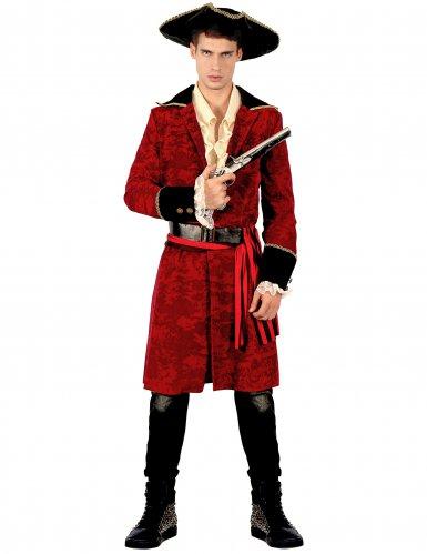 Chique rood en zwart piraat kostuum voor heren