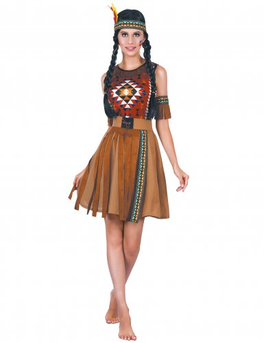 Kostuums Dames.Inheems Indiaan Kostuum Met Franjes Voor Dames