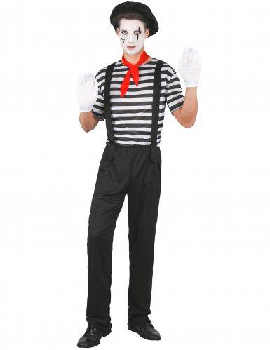 Zwarte en witte klassieke mime outfit voor mannen
