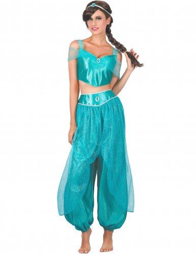 Blauwe Arabische prinses outfit voor vrouwen