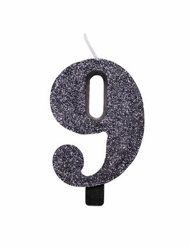 Zwarte glitter cijfer verjaardagskaars-9