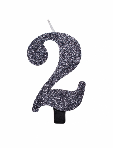 Zwarte glitter cijfer verjaardagskaars-2