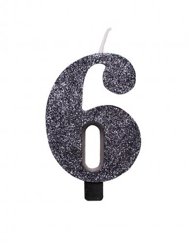 Zwarte glitter cijfer verjaardagskaars-6