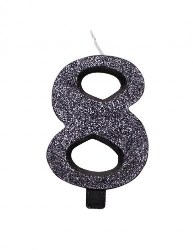Zwarte glitter cijfer verjaardagskaars-8