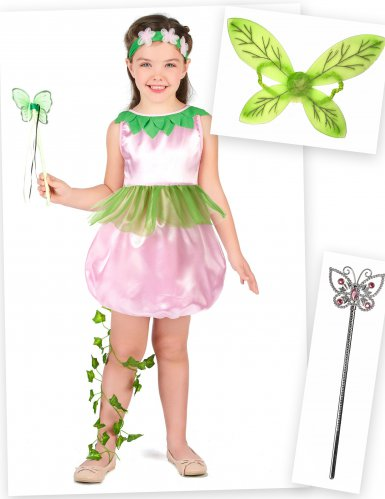 Fee kostuum pack met vleugels en toverstaf voor meisjes