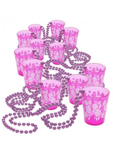 Pack met 12 roze kettingen met shotglazen