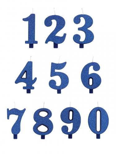 Blauwe glitter cijfer verjaardagskaars-1