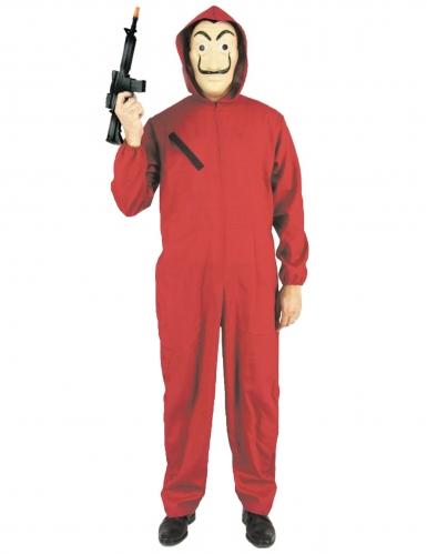 Bankovervaller kostuum in rood voor volwassenen