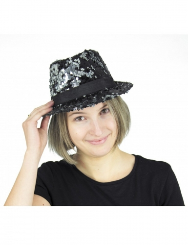 Zwarte en zilverkleurige lovertjes hoed voor volwassenen