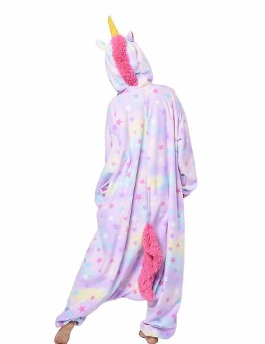 Pastelkleurig sterren eenhoorn Kigurumi™ pak voor volwassenen-1
