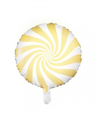 Witte en gele aluminium lolly ballon
