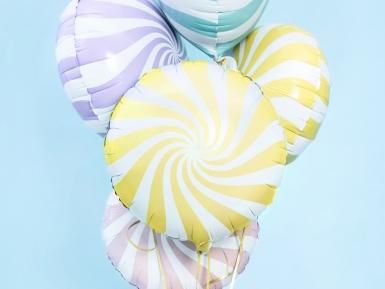 Witte en gele aluminium lolly ballon-1