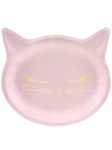 6 roze kattenkop kartonnen borden