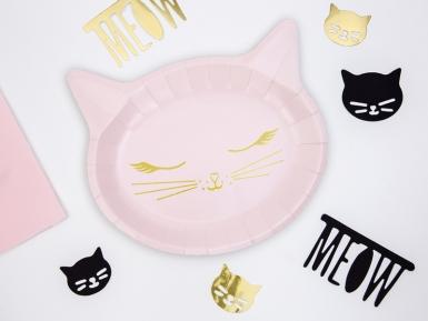 6 roze kattenkop kartonnen borden-1