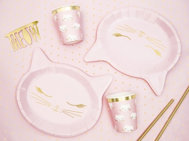 6 roze kattenkop kartonnen borden-2