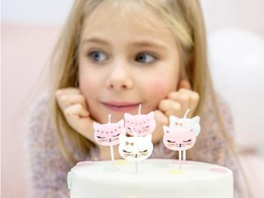 6 witte en roze katten verjaardagskaarsjes-1