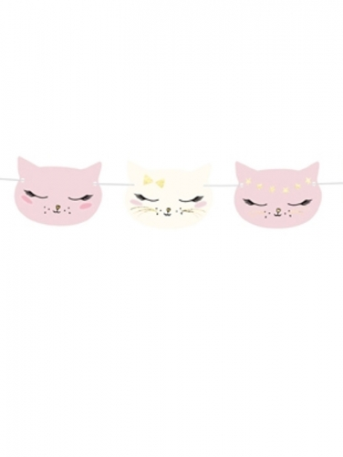 Roze en witte kartonnen kat slinger