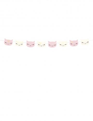 Roze en witte kartonnen kat slinger-1