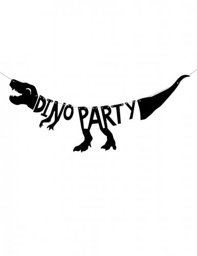 Zwarte kartonnen dino party feestslinger