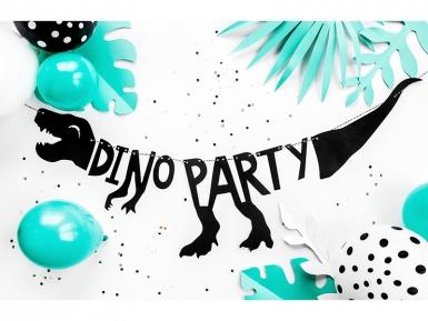 Zwarte kartonnen dino party feestslinger-2