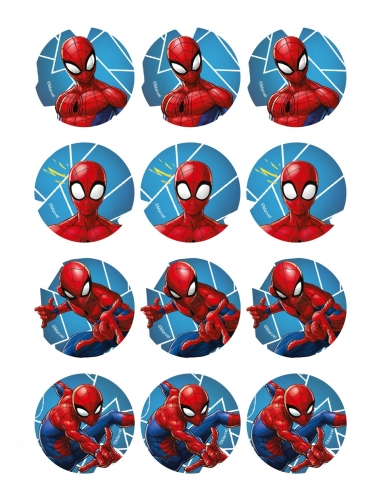 12 eetbare Spiderman™ koek decoraties
