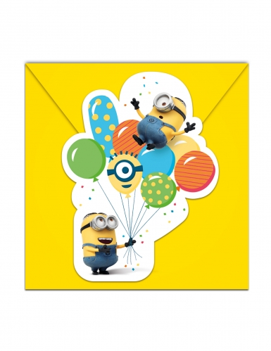 6 Minions™ balloon party uitnodigingen met enveloppen
