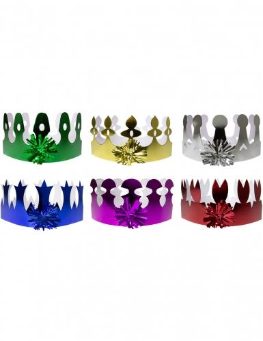 6 veelkleurige holografische kroontjes