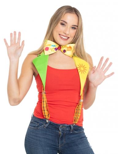 Clown bretels met strikje voor volwassenen