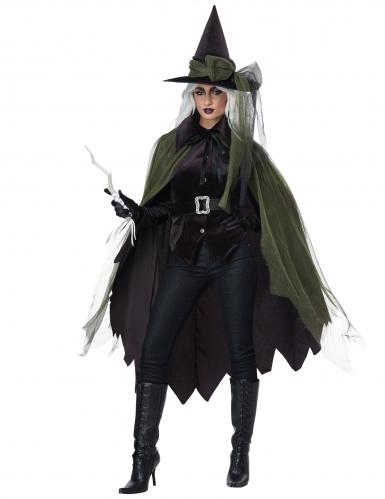 Lange groene en zwarte gothic heks outfit voor volwassenen-1