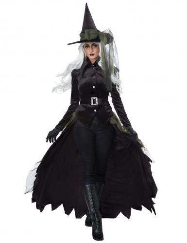 Lange groene en zwarte gothic heks outfit voor volwassenen-2