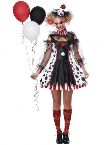 Psycho clown outfit met stippen voor dames