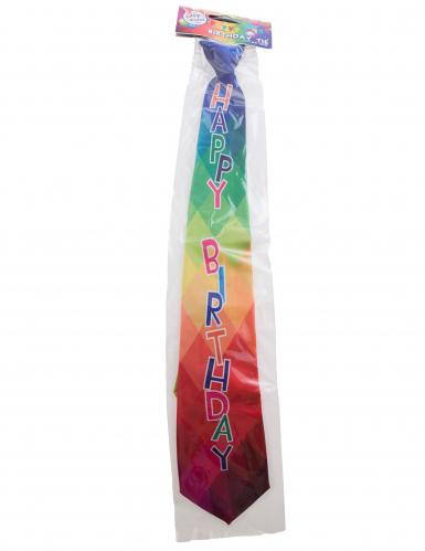 Kleurrijke Happy Birthday stropdas voor volwassenen-1