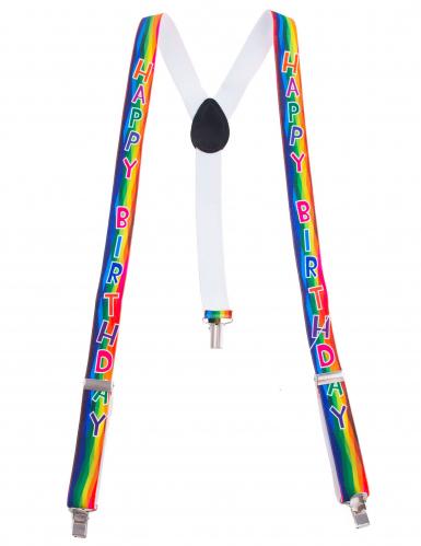 Kleurrijke Happy Birthday bretels voor volwassenen