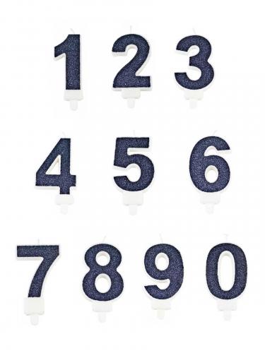 Donkerblauw glitter cijfer kaarsje-1