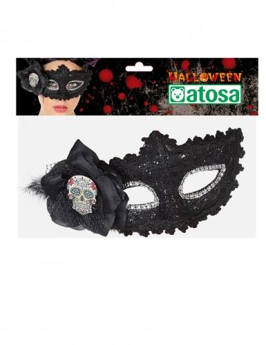 Zwart Dia de los Muertos kanten masker voor volwassenen-1