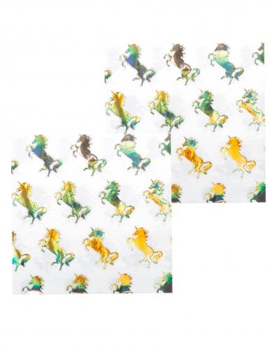 12 holografische papieren eenhoorn servetten