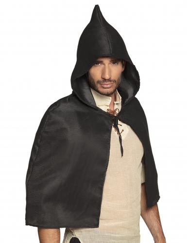 Zwarte middeleeuwse cape voor volwassenen