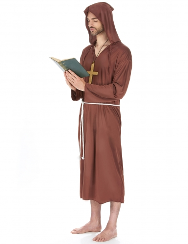 Bruin monnik kostuum voor mannen - Grote Maten-1