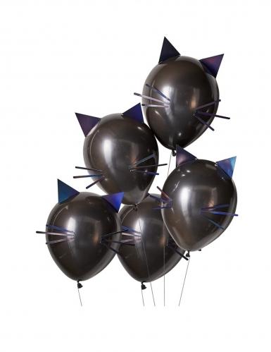5 latex zwarte kat ballonnen