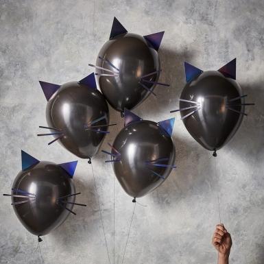 5 latex zwarte kat ballonnen-1