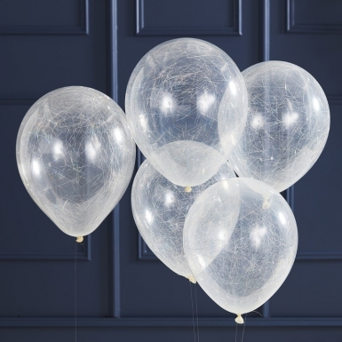 5 doorzichtige latex zilverkleurige engelenharen ballonnen-1